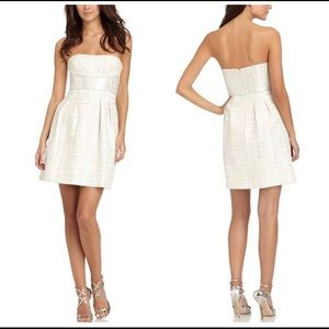 BCBG Cream And Silver Strapless Dress
